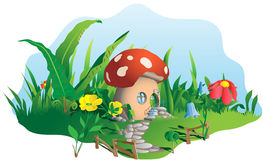 Maison de champignon illustration stock