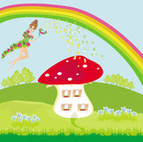 maison de champignon et belle fée Photo stock