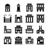 Maison de dépôt, banque, institut financier, villa, hutte, maison, hôtel de ville, maison moderne, ferme, entrepôt, appartements, illustration de vecteur