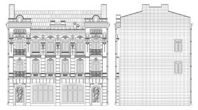 Retrait lat ral de construction de fa ade image stock for Dessin facade maison