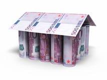 maison de 500 euro billets de banque de petit pain formée Images libres de droits