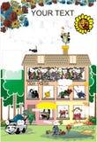 Maison de famille et affiche de durée Illustration Stock