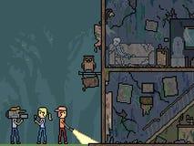 Maison de fantôme de scène de pixel de vecteur illustration libre de droits