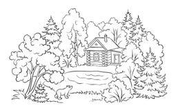 Coloriage Maison Dans La Foret.Maison De Foret Pres D Un Lac Illustration De Livre De