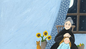 Maison de grand-mère et de granddaughterat Photos stock
