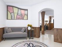 Maison de Hall dans un style de grenier avec un à haut plafond avec l'éclairage Photographie stock libre de droits