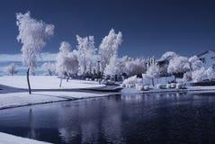 Maison de lac desert Image libre de droits