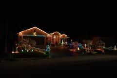 Maison de lumières de Joyeux Noël Photos libres de droits