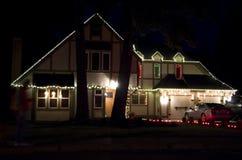 Maison de lumières de Noël Images stock