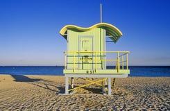 Maison de maître nageur de style d'art déco sur la plage du sud, Miami Beach, la Floride Photos stock