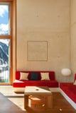 Maison de montagne, salon Photo libre de droits