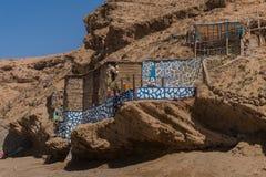 Maison de pêche africaine du nord au Maroc photographie stock libre de droits
