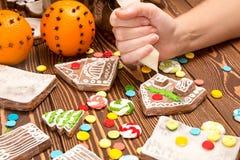 Maison de pain d'épice de Noël de création Parties multicolores de genièvre Images stock