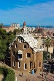 Maison de pain d'épice en parc Guell à Barcelone images libres de droits