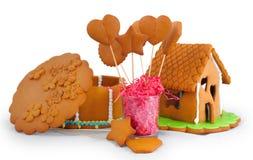 Maison de pain d'épice et pain d'épice Photos stock