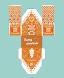 Maison de pain d'épice imprimable de cadeau avec des éléments de lustre de Noël Calibre pour la maison de 3 d Métier de papier de Image stock
