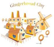 Maison de pain d'?pice de dessin pour des cartes et la conception illustration libre de droits