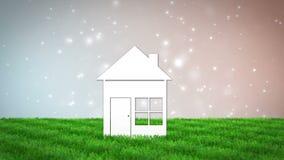Maison de papier sur le champ d'herbe 3D rendent l'animation banque de vidéos