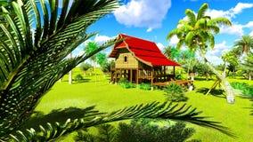 Maison de plage tropicale dans le rendu des tropiques 3d Photo libre de droits
