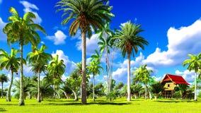 Maison de plage tropicale dans le rendu des tropiques 3d Image libre de droits