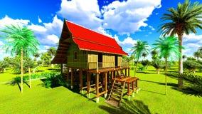 Maison de plage tropicale dans le rendu des tropiques 3d Images stock
