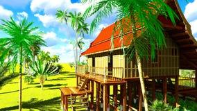 Maison de plage tropicale dans le rendu des tropiques 3d Photos stock