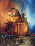Maison de potiron avec des fleurs illustration de vecteur