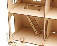 Maison de poupée en bois avec peu de meubles sur un fond blanc photographie stock