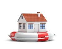 Maison de protection avec la bouée de sauvetage Photo stock