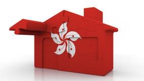 Maison de puzzle de bâtiment comportant le drapeau de Hong Kong Émigration, construction ou marché de l'immobilier 3D conceptuel illustration de vecteur