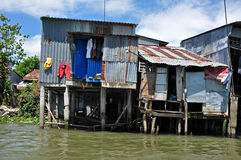 Maison de Shack dans le delta du Mékong, Vietnam Images stock