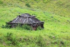 Maison de Taditional des chasseurs d'Altai dans le pré photo libre de droits