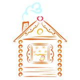 Maison de village avec un tuyau et fumée sous forme de coeur illustration libre de droits