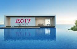 Maison de vue de mer avec la piscine dans la conception moderne, villa de luxe Illustration Libre de Droits