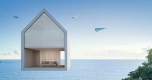 Maison de vue de mer flottant dans le ciel, art architectural de concept Photo libre de droits