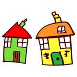Maison deux dans le style des dessins des enfants illustration stock