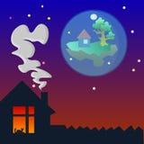 Maison douce à la maison à la soirée Image stock