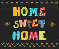 Maison douce à la maison Conception d'affiche avec le texte décoratif Photographie stock libre de droits