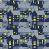 Maison douce à la maison Modèle sans couture tiré par la main avec la vieille ville de doddle pendant la nuit Modèle sans couture Images stock