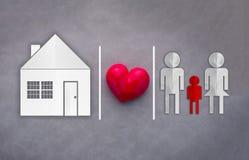 Maison douce à la maison Style de coupe de papier de concept de la famille Photographie stock libre de droits