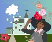 Maison, maison douce Belle carte de vecteur avec le cottage vert, le nuage, les étoiles, les fleurs et la belle femme dans le cha illustration de vecteur