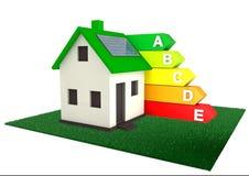 Maison efficace d'énergie pour des économies l'environnement du monde Images stock