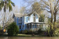 Maison en bois dans le del Parana, Tigre Buenos Aires Argentine de delta photo stock