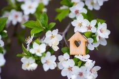 Maison en bois de plan rapproch? avec le trou sous la forme de coeur entour?e par les branches fleurissantes blanches des arbres  photographie stock