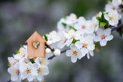 Maison en bois de plan rapproch? avec le trou sous la forme de coeur entour?e par les branches fleurissantes blanches des arbres  photo stock