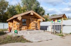 Maison en bois de trackman au musée du transport ferroviaire dans S Photo libre de droits