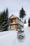 maison en bois Deux-storeyed cachée par la neige Image libre de droits