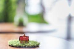 Maison en céramique miniature sur la moquerie en bois au-dessus du jardin vert brouillé sur la lumière de midi de jour Photographie stock