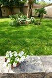 Maison en pierre jaune médiévale antique, jardin Photo stock