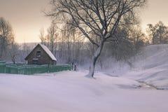 Maison et arbre d'hiver sur la rivière congelée le matin en Russie Photographie stock libre de droits